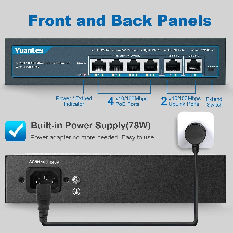 Metal Plug and Play YuanLey 10 Port PoE Switch 120W 802.3af//at 2 Gigabit Uplink Extend Function Fanless 8 PoE+ Port 100Mbps