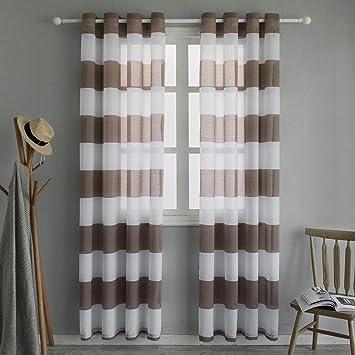 Topfinel Voile Vorhänge mit Ösen Streifen Transparent Gardinen für  Wohnzimmer Schlafzimmer Kinderzimmer 2er Set je 140x220cm Braun