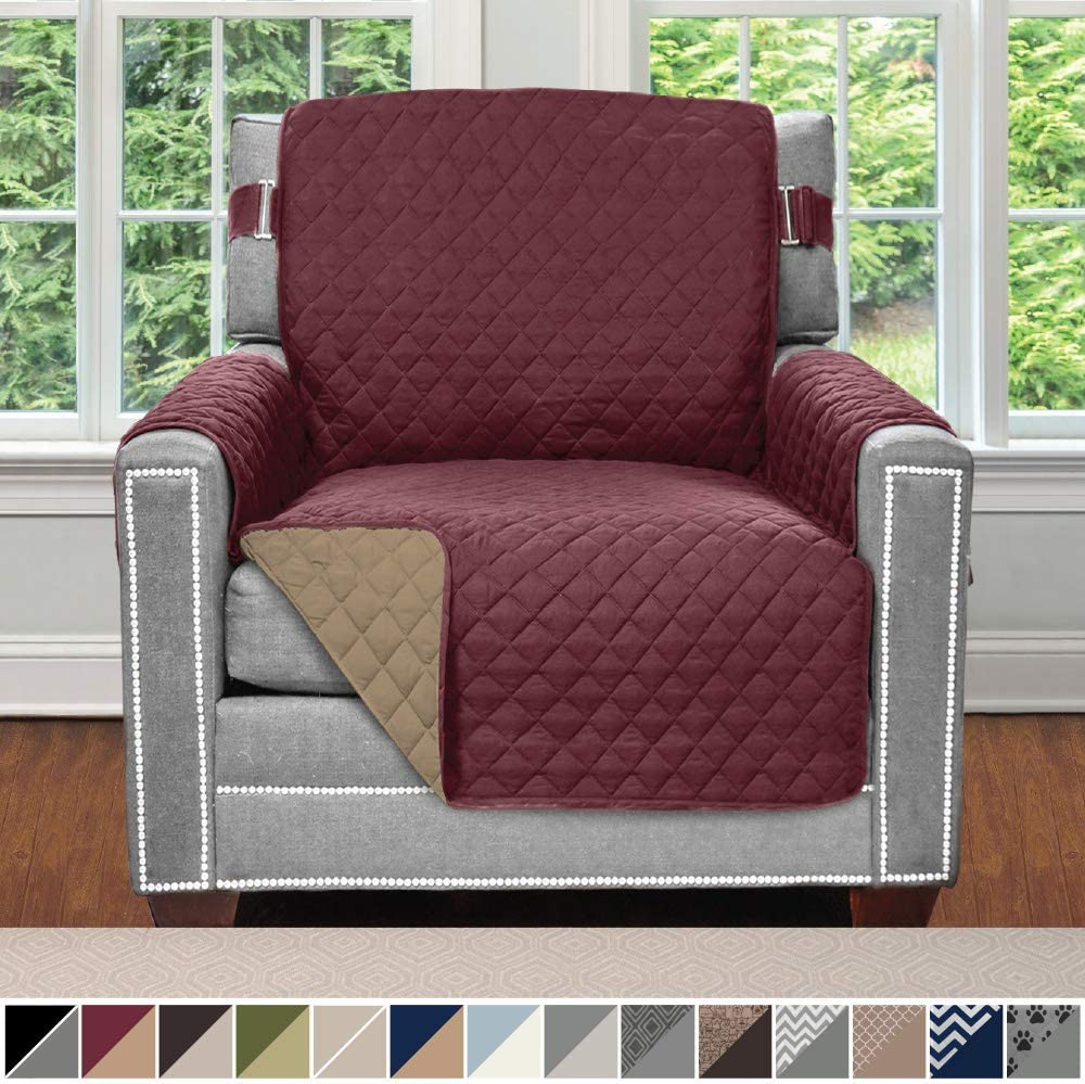 Sofa Shield Original Patent Pending Reversible Chair Slipcover, 2 Inch Strap Hook, Seat Width Up to 23 Inch Machine Washable Furniture Protector, Slip Cover Throw for Pets, Kids, Chair, Burgundy Tan