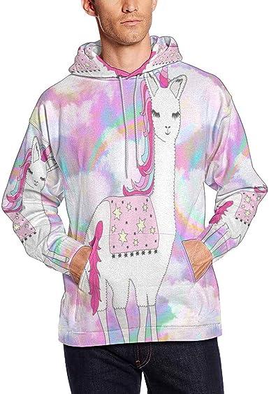 INTERESTPRINT Mens Unicorn Stars Pocket Hoodie