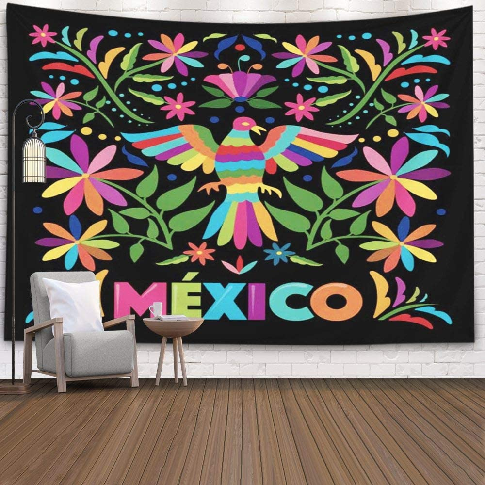 Jacrane Hanging Wall Tapestry, Tapestries with 80x60 Inches Colorful Mexican Traditional Textile Embroidery Style Art Tapestry for Dorm Bedroom Living Home Decor,Red Green
