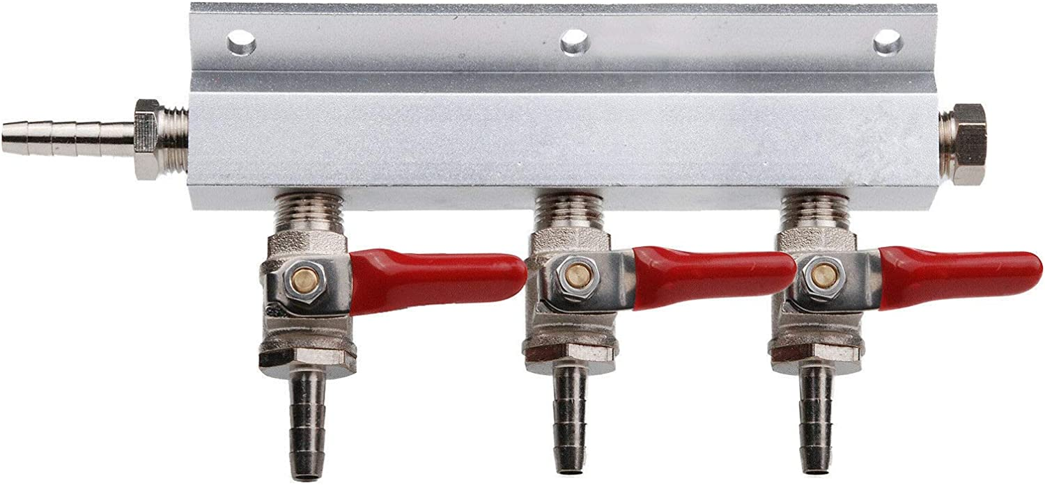 """3 Way Gas Manifold Distribution CO2 Splitter WITH CHECK VALVES Home Brew beer 5/16"""" 8MM barb Fittings"""