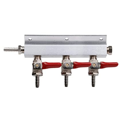 """3 Way Gas Manifold Distribution CO2 Splitter with Check VALVES Home Brew  Beer 5/16"""" 8MM Barb Fittings: Amazon.in: Home & Kitchen"""