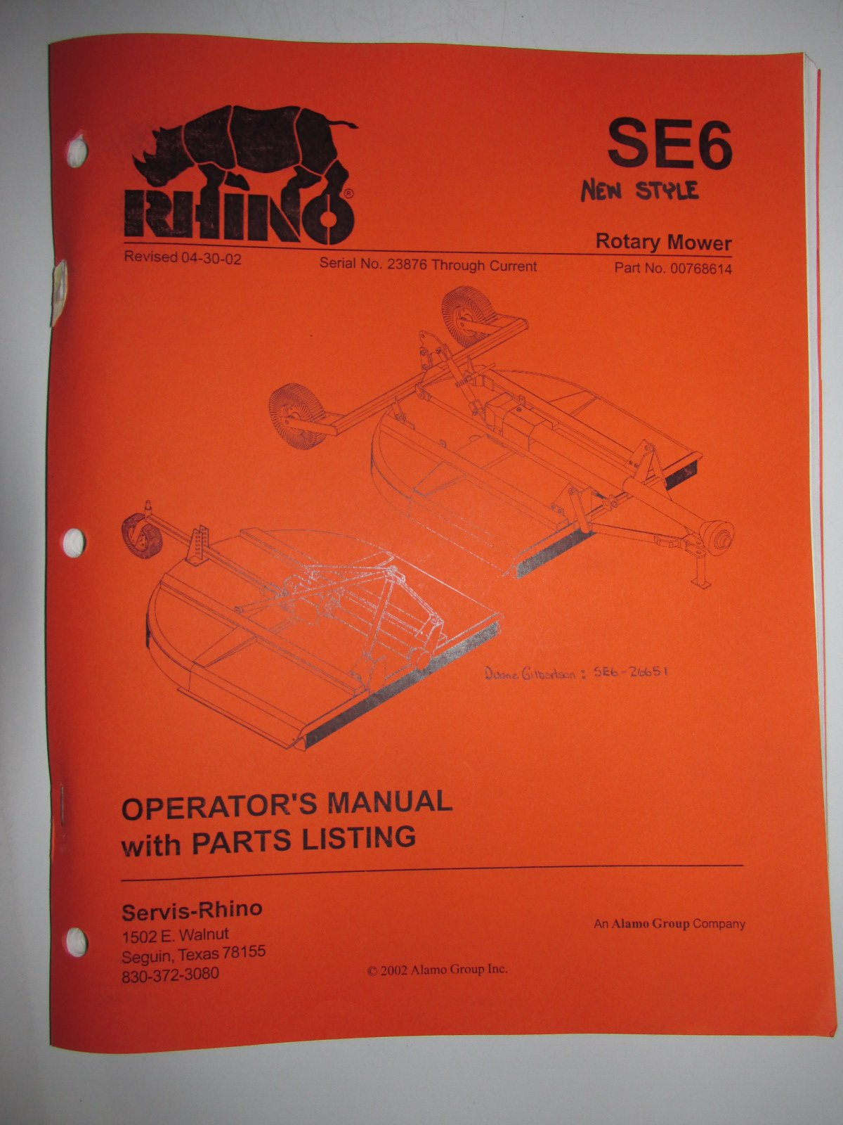 Rhino SE6 (New Style) Rotary Mower Operators Manual/Catalog