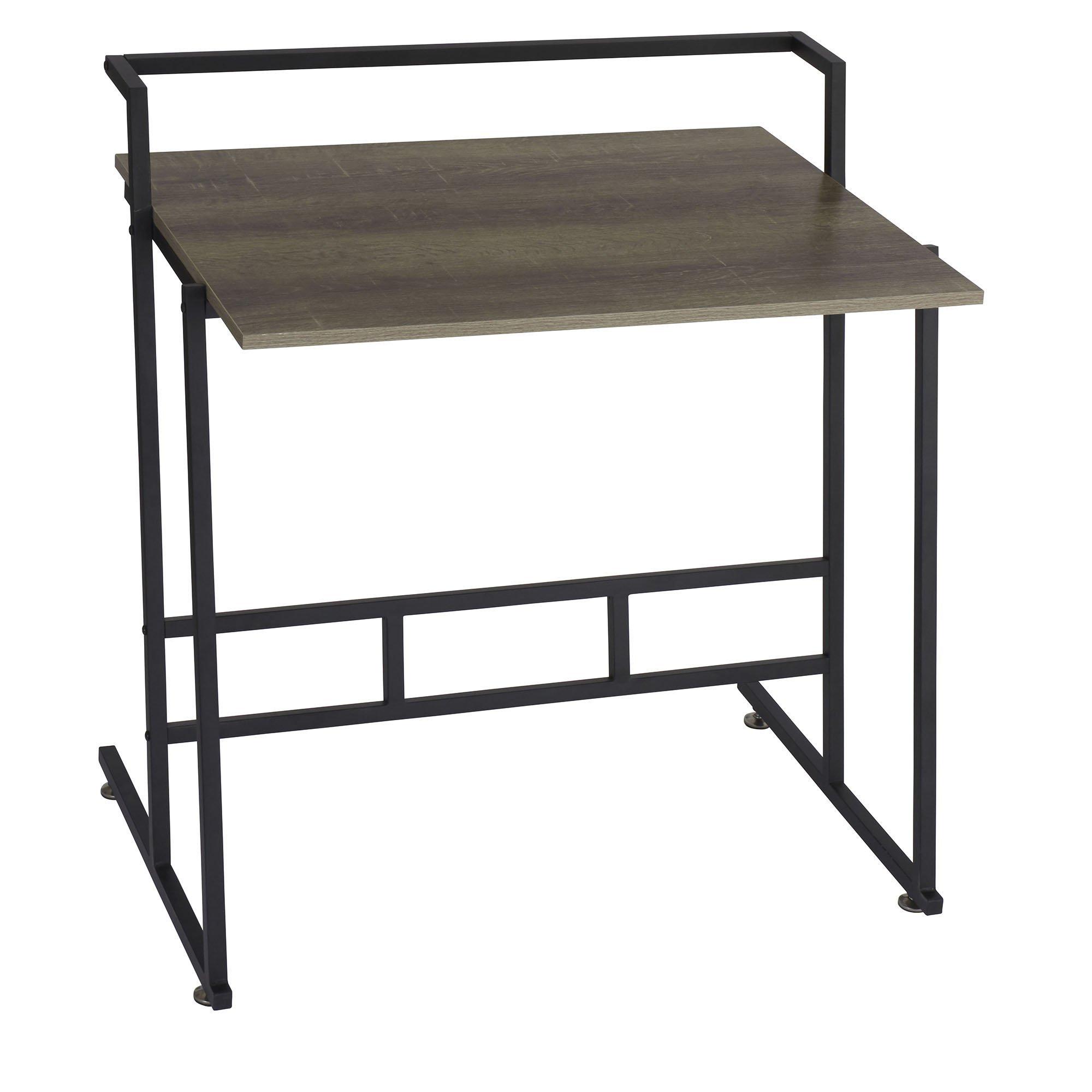 Household Essentials 8070-1 Ashwood Office Desk | Gray-Brown | Black Metal Frame