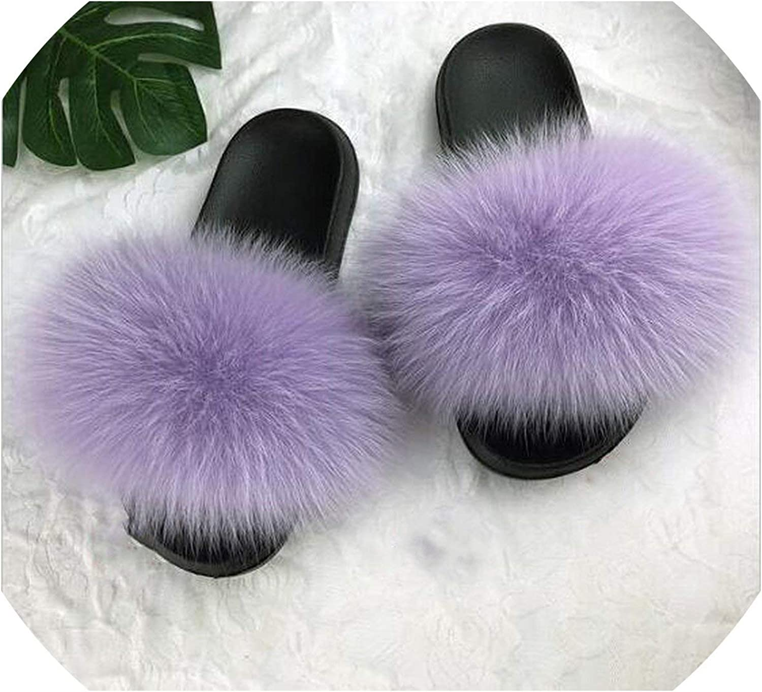 2019 Womens Summer Outdoor Slippers Real Fur Slippers Rainbow Colors Women Slippers Beach Fox Fur Slides,See as pic,10.5