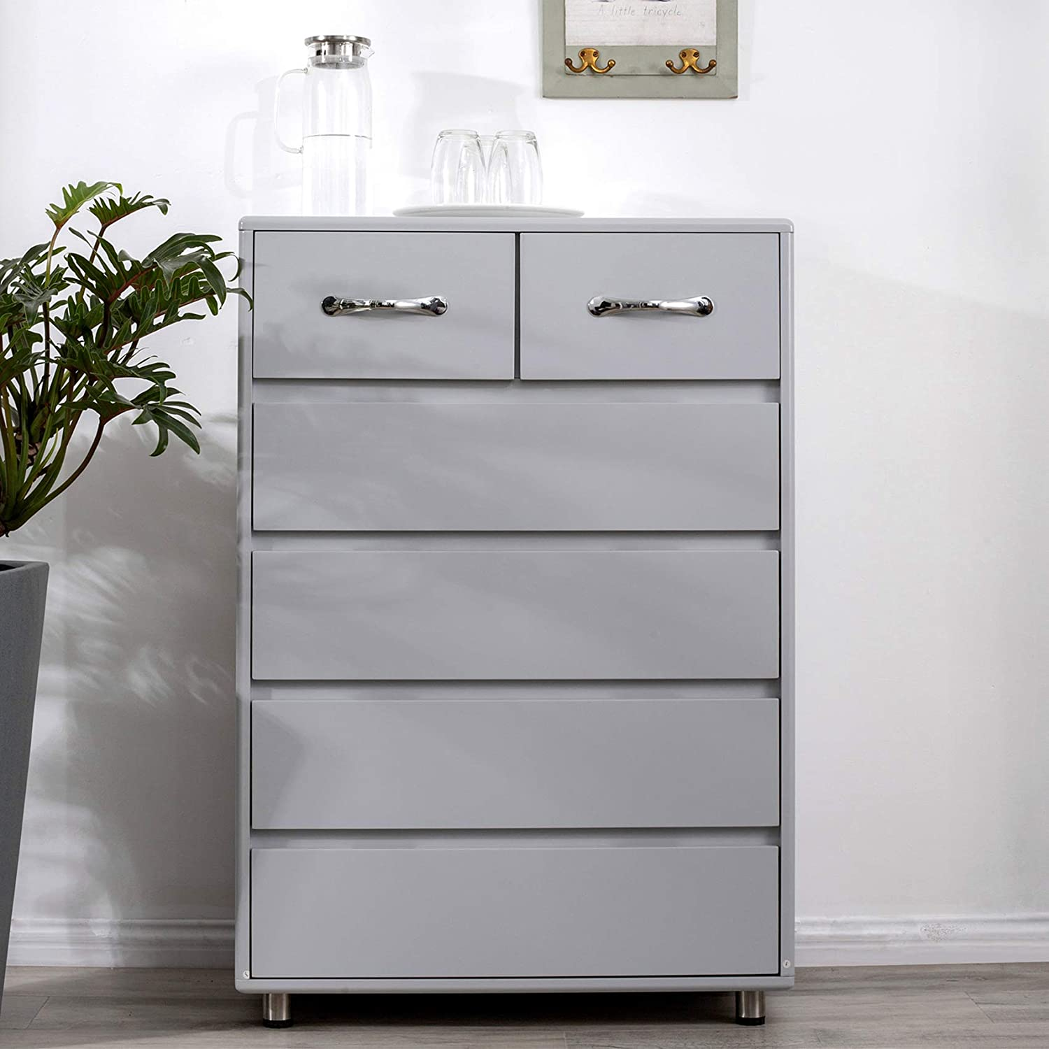 Norcia Modern Chest of Drawers for Bedroom, Sleek Corner 6 Drawer Dresser with Steel Tube Legs and Rubber Pads, Tall Cabinet with Storage Grey