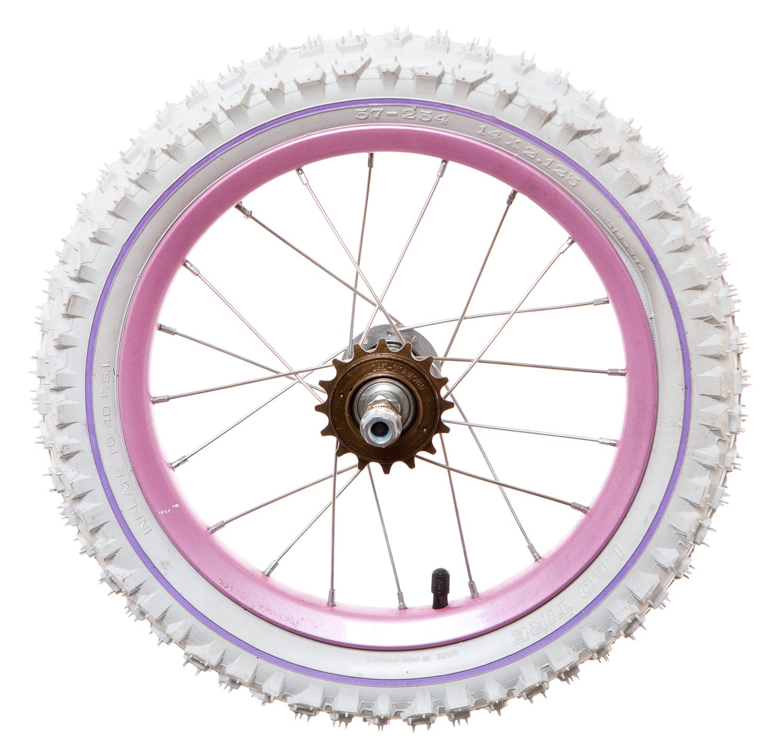"Lilac Rim /& Spokes White Tyre with lilac Line Rear 14/"" kids Bike Bicycle Wheel"