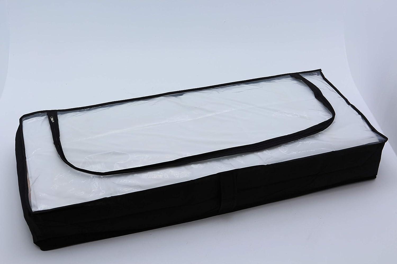 schwarz Homme 2X Unterbettkommode strapazierf/ähig atmungsaktiv Polypropylen-Vliesstoff Rei/ßversschluss Oberseite durchsichtig 103x45x16 cm schwarz Doppelpack