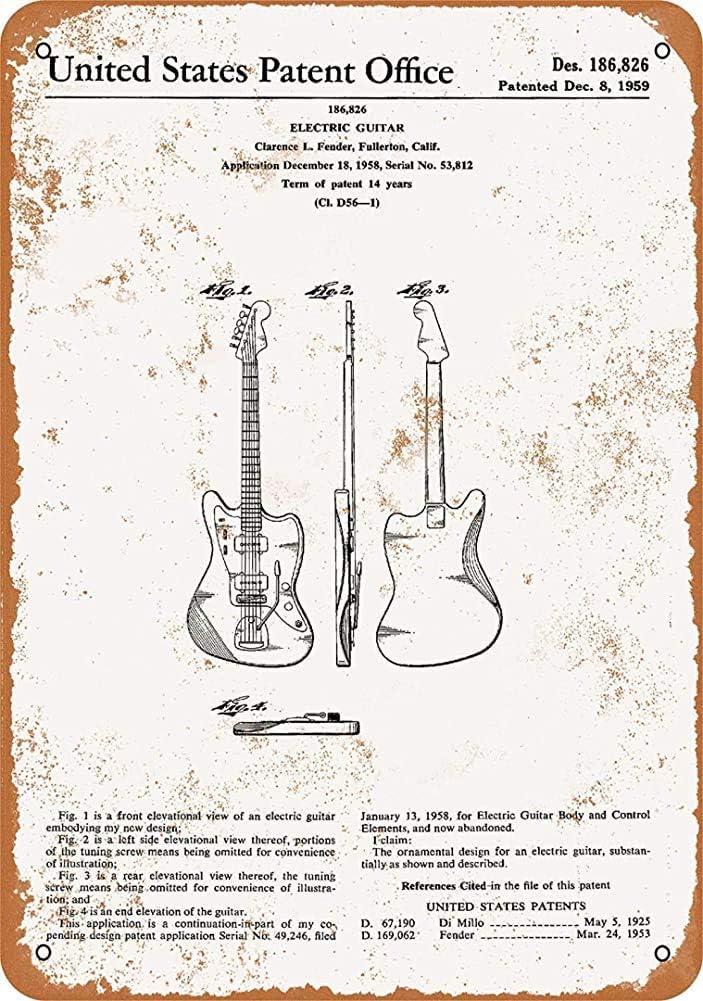 YelenaSign 1959 Clarence Fender - Cartel de Metal para Guitarra eléctrica (20,3 x 30,5 cm)