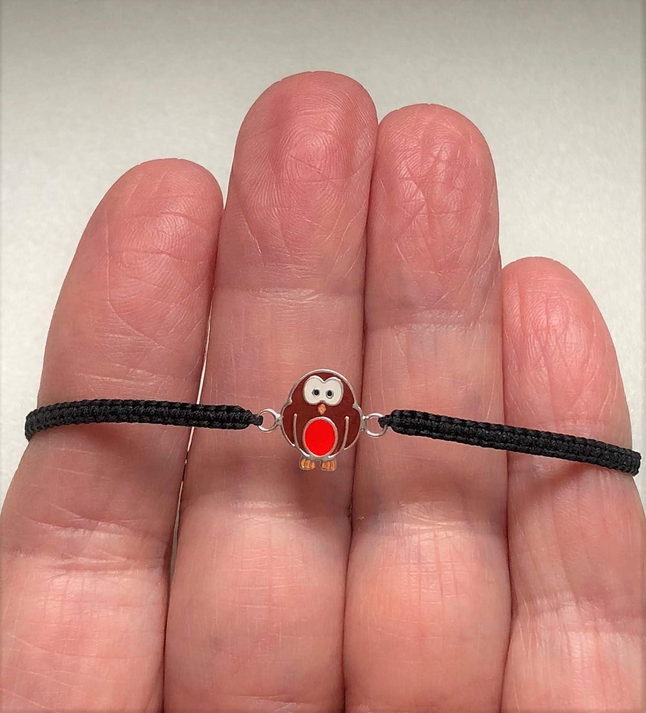 Sterling Silver Robin Charm on Black Cord Gift Christmas Bracelet