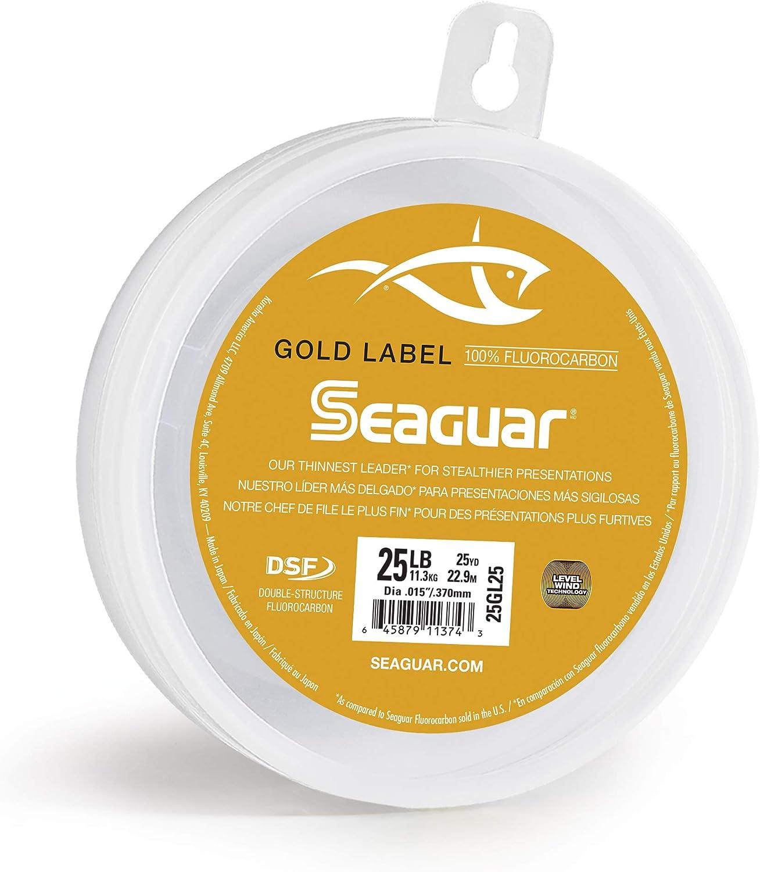 25GL25 25 yd 25 lb DSF Seaguar Gold Label 100/% Fluorocarbono L/íder