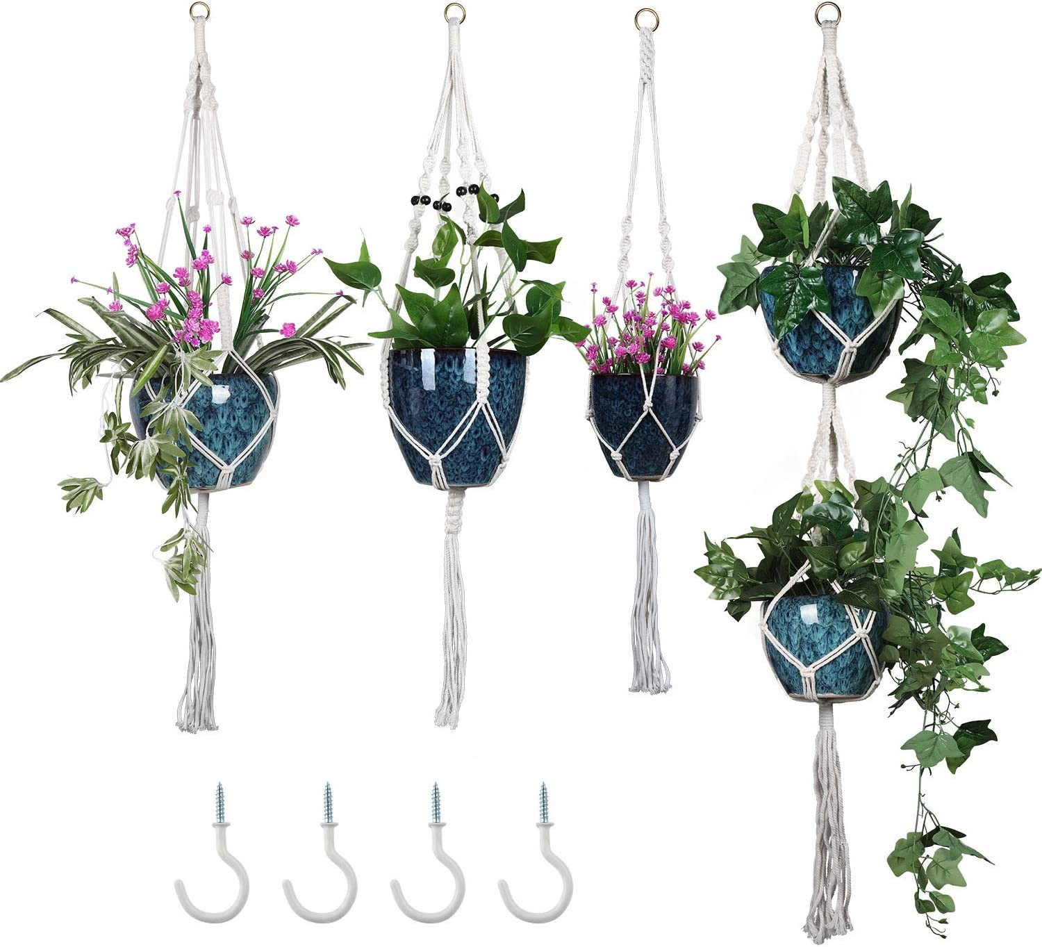 Macrame Plant Hangers – Hanging Plant with 4 Hooks, Metal Rings and Ancient Beads – 4 Pack in Different Designs Hanging Planters for Indoor Plants
