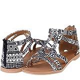 DREAM PAIRS Women's Summer Trendy Print Gladiator Flat Sandals
