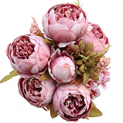 Amazon luyue vintage artificial peony silk flowers bouquet luyue vintage artificial peony silk flowers bouquet cameo brown mightylinksfo
