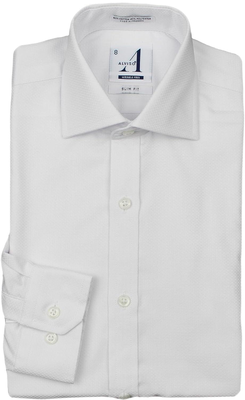 Alviso Boys White Textured Long Sleeve SLIM /& REGULAR FIT Dress Shirt 6