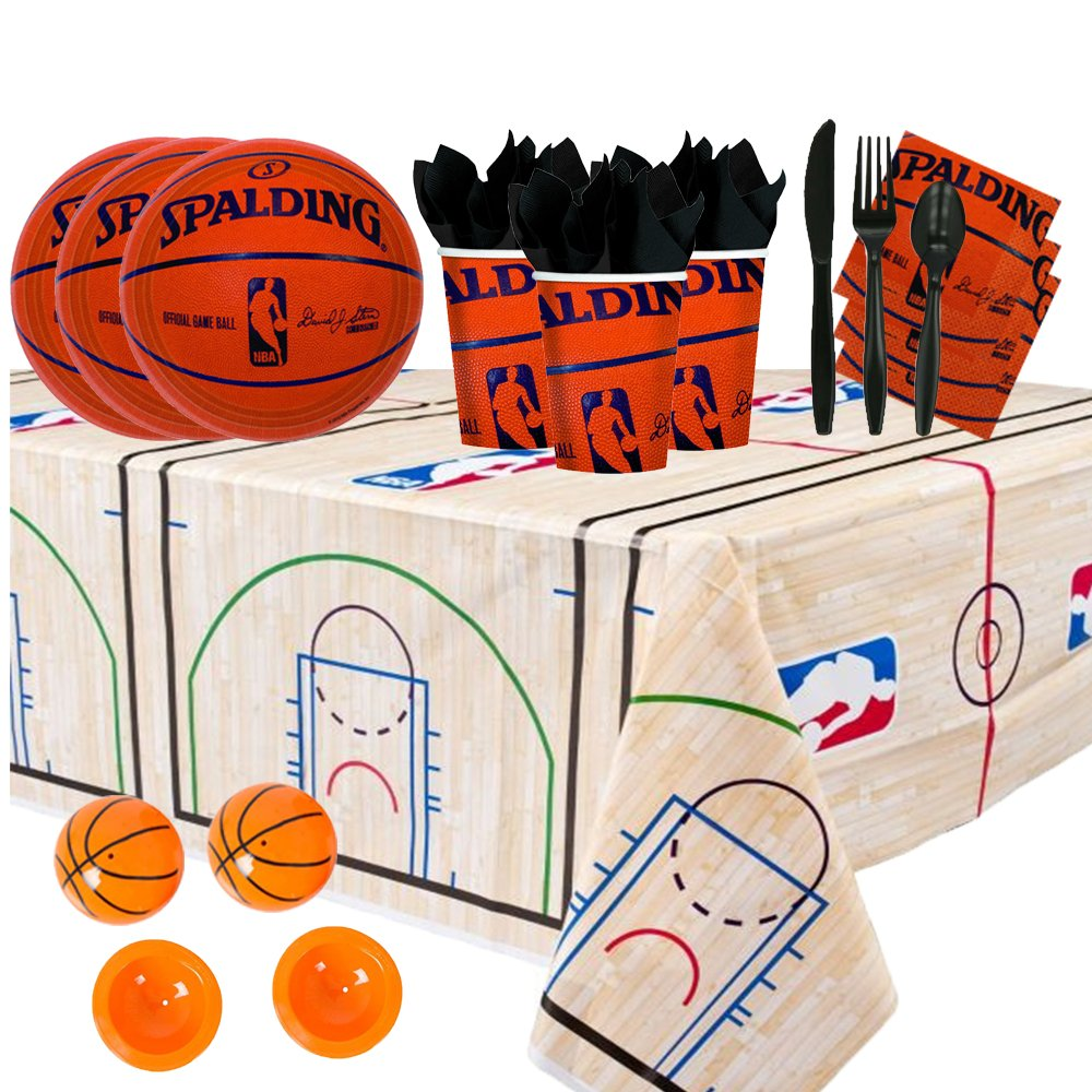 Another Dream NBA Basketball Spalding Party Supplies Party Pack for 16 guests (Plates, Cups, Full Cutlery Set, Napkins, Table cover, and Basketball Poppers)