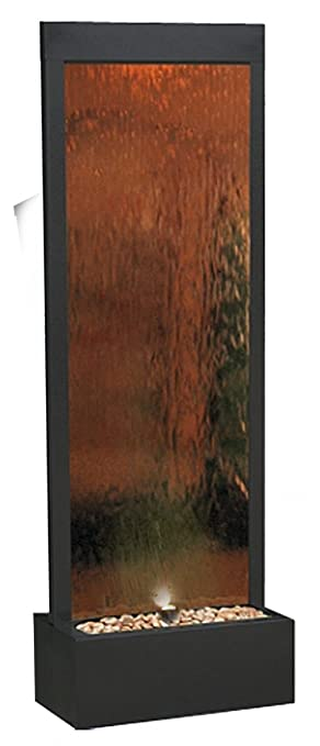 Alpine MLT100 Mirror Waterfall with Decorative Stones and Light, Bronze