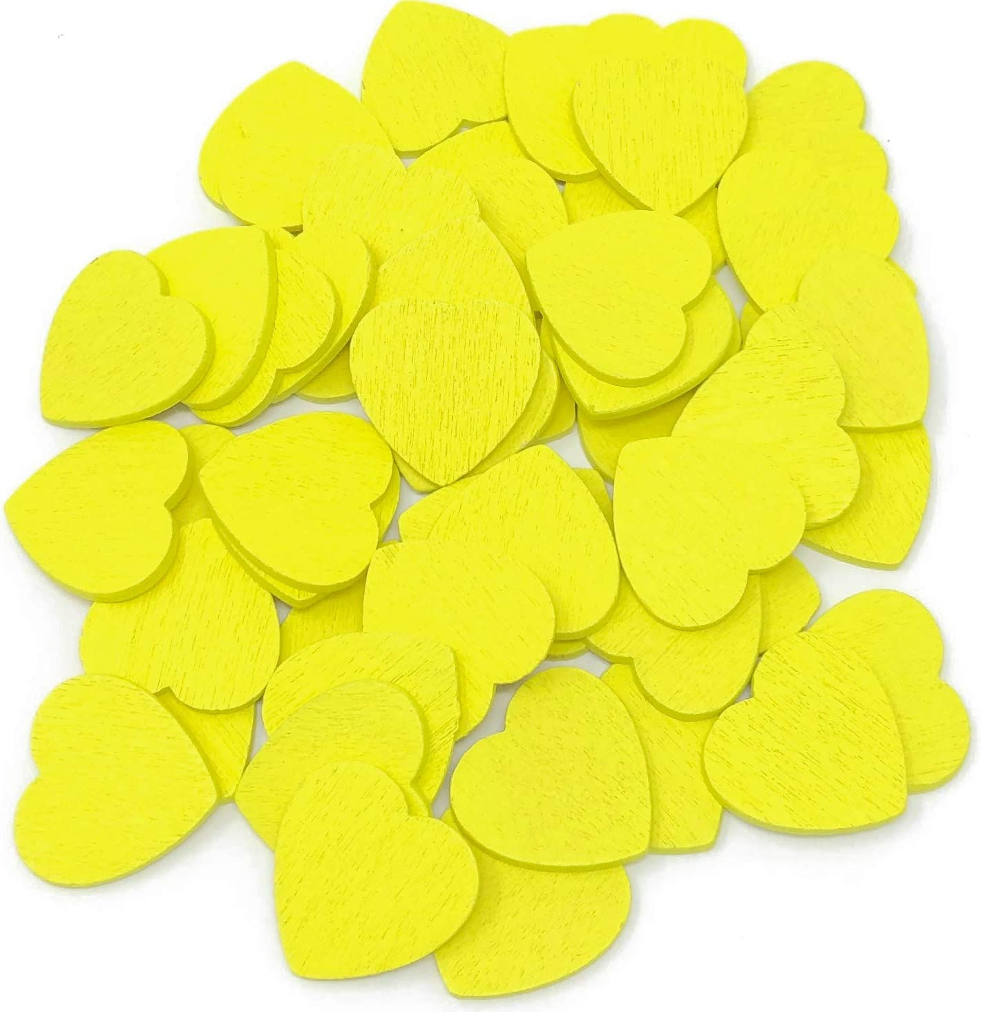 Yellow 18mm Coloured Wooden Shabby Chic Craft Scrapbook Vintage Confetti Hearts 50