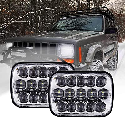 BICYACO DOT 110W 5x7 Inch Led Headlights 7x6 Inch Hi/Low Led Sealed Beam Headlamp for Jeep Wrangler YJ Cherokee XJ H4 Plug H6054 Headlights H5054 6054 6052 Toyota Pickup(Chrome): Automotive