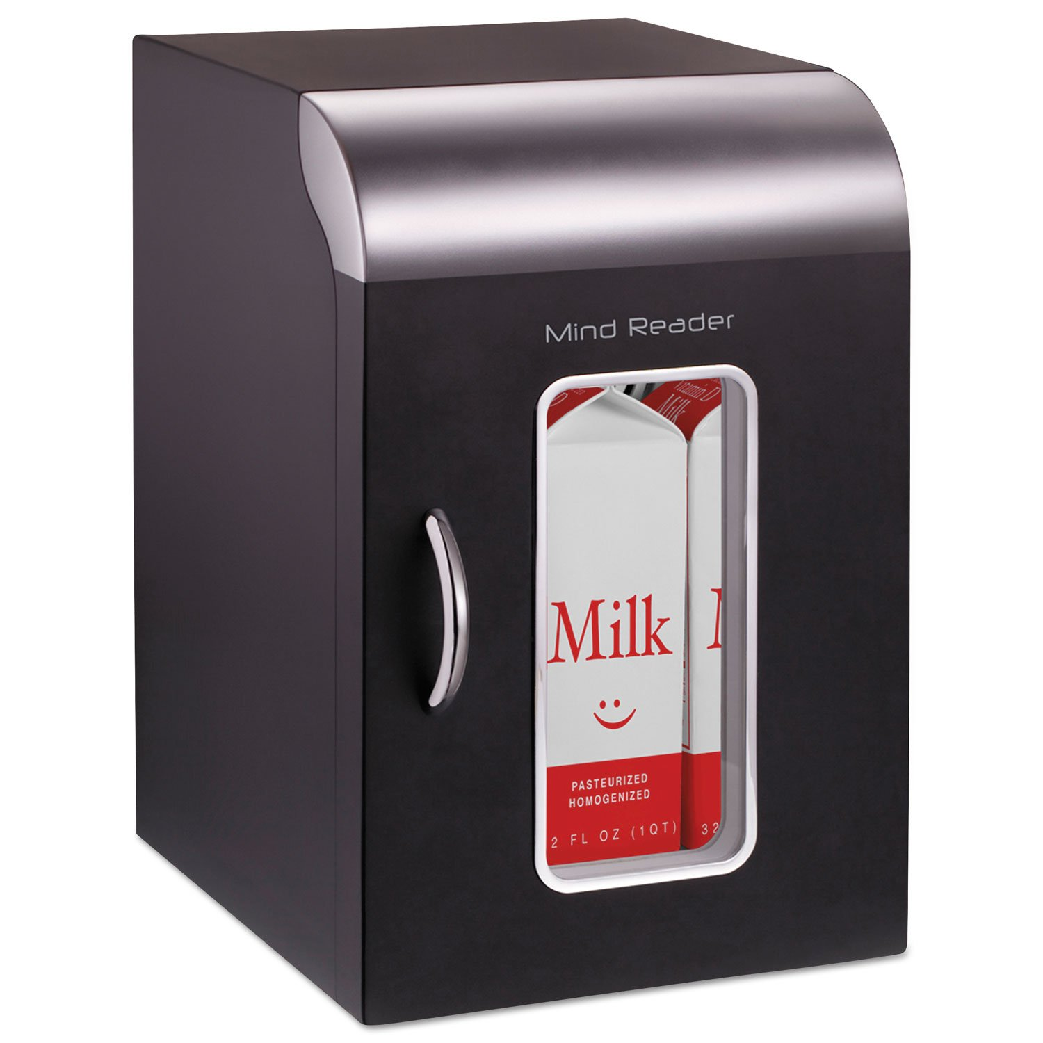 Mind Reader REF01BLK Cube Mini Coffee Station Refrigerator, 0.21 Cu. Ft, Black w/Chrome Handle