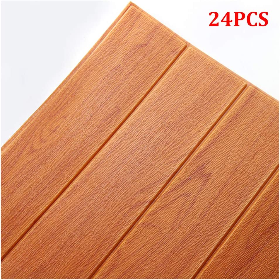 Doremy 3D Wall Panels Stickers Wood Grain Wallpaper DIY Waterproof for Background Wall Decoration 36PCS, Gary Wood