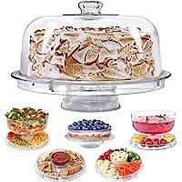 Soporte para tartas con cúpula, 6 en 1 multiusos para uso multiuso, bandeja para servir, cuenco para perforar, bandeja…