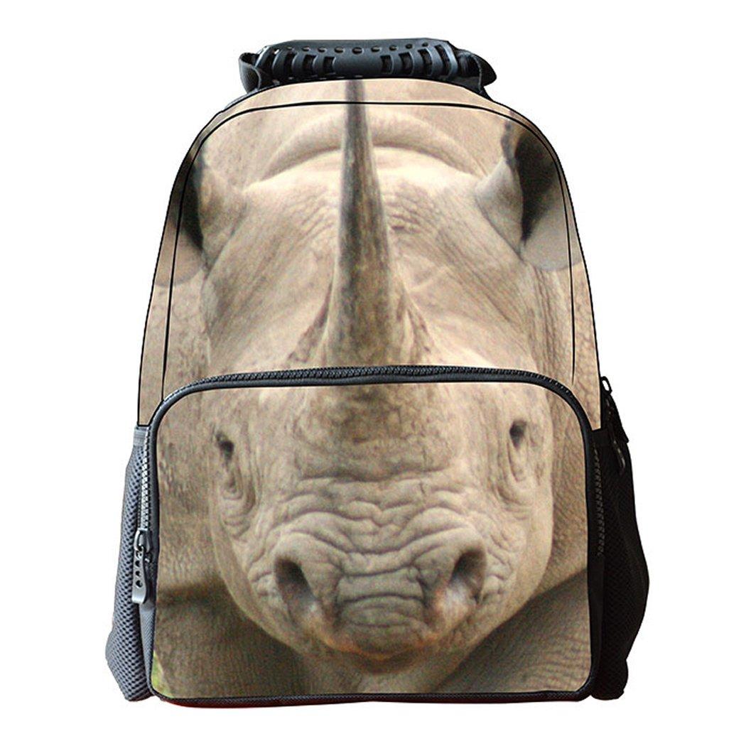 AnKoee Sac /à Dos Rhinoceros Sac /à Dos Pour Animaux Sac /à Dos Universitaire Sac /à Dos Personnalis/é Style-01