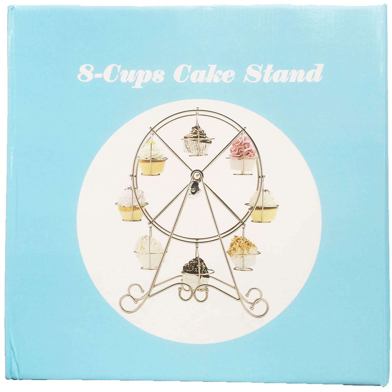musykrafties NORIA RUEDA Soporte Cupcakes Brillante Admite 8 CUPCAKES,METAL CROMADO ACERO muffin cupcakes EXPOSITOR, Fiesta Centro de mesa, para cupcakes ...