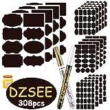 DZSEE 308 x svarta etiketter självhäftande 2 x raderbara kriritmarkörer, etiketter självhäftande för glas, tavla…