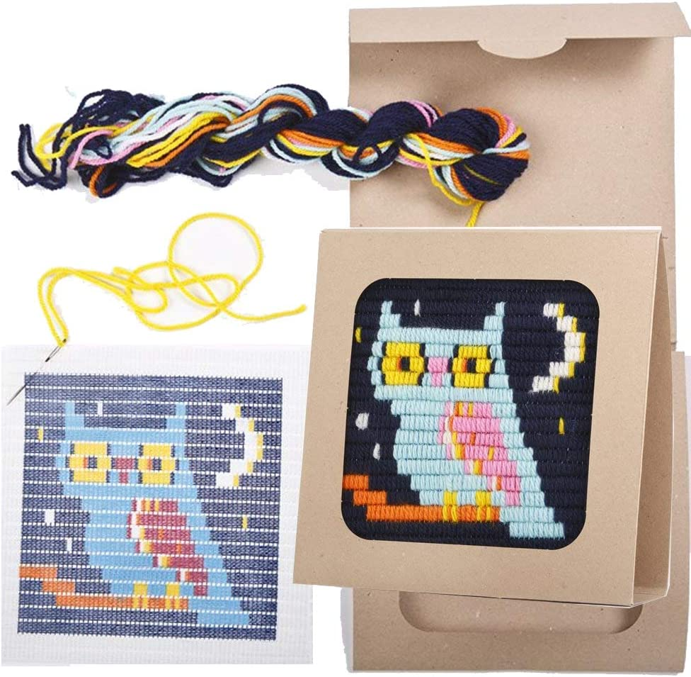 """8/"""" x 8/"""" Sozo Easier Than Cross Stitch Eco Friendly Package That Turns into a Display Frame Size Pirate Colorful DIY Needlepoint Embroidery Craft Kit for Beginners"""