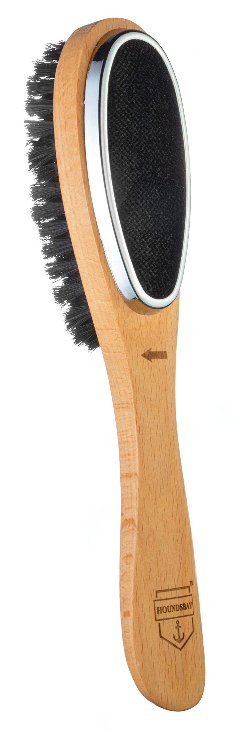HOUNDSBAY Esquire 3 in 1 Lint Remover & Garment Care Suit Brush for Clothes with Shoe Horn Handle   Removes Hair & Pet Fur (Natural Wood)