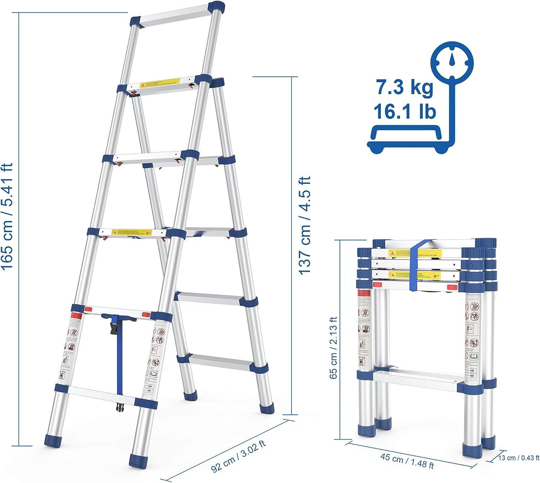 Escalera Plegable Telescopica 5-20 Metros Capacidad de 300 Kg,with Full Body Harness,5 m Resistente Llamas Port/átil Escalera Cuerda Escalada de Emergencia con Ganchos