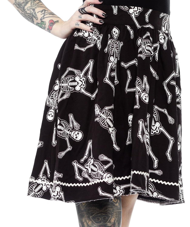 Vintage Retro Halloween Themed Clothing Sourpuss Dancing Skeletons Skirt $47.99 AT vintagedancer.com