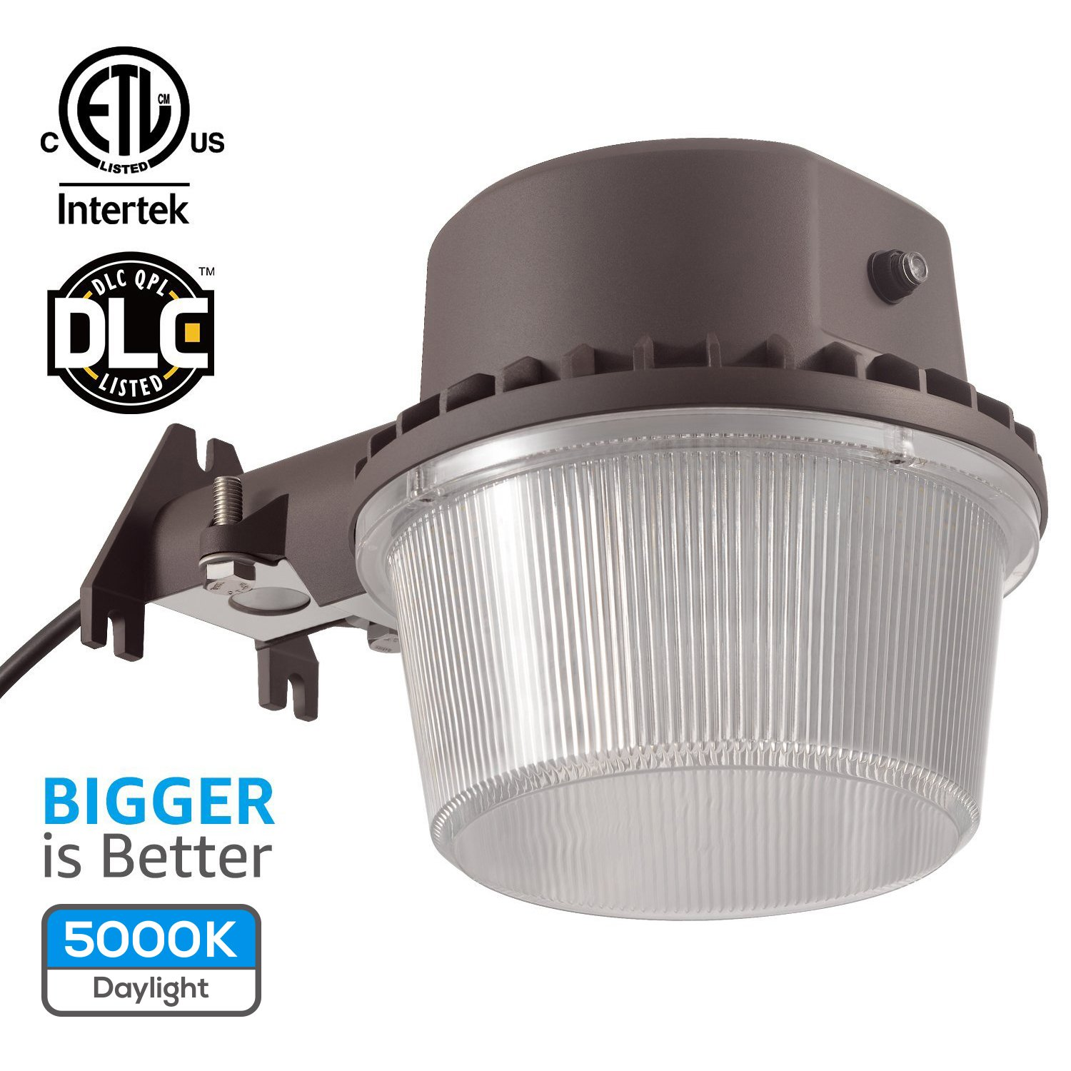 TORCHSTAR Dusk-to-dawn LED Outdoor Barn Light (Photocell Included), 35W (250W Equiv.), 5000K Daylight Floodlight, DLC & ETL-listed Yard Light for Area Lighting, 5-year Warranty, Bronze by TORCHSTAR