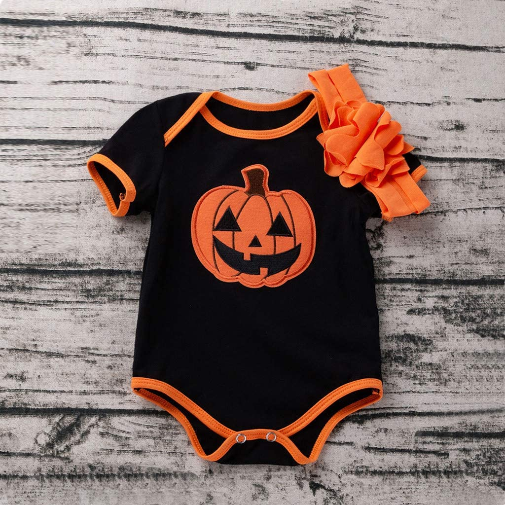 ZEFOTIM Halloween Baby Bodysuits Toddler Baby Kid Girl Boys Halloween Pumpkin Romper Bodysuit Playsuit Hairband