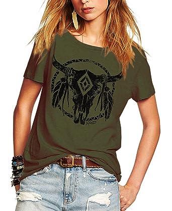 a4b99f624bcb Romastory Womens Street Pattern T-Shirt Short Sleeve Loose Summer Top Tee  (S