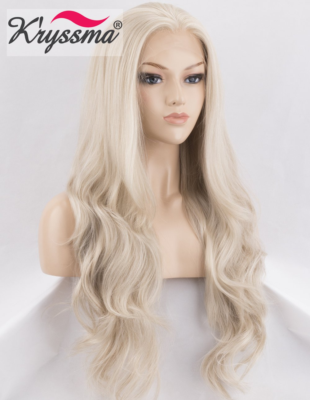 K'ryssma KÀryssma Light Blonde Lace Front Wig Long Wavy Platinum Blonde Synthetic Wigs for Women Half Hand Tied Wavy Wigs 22 inches