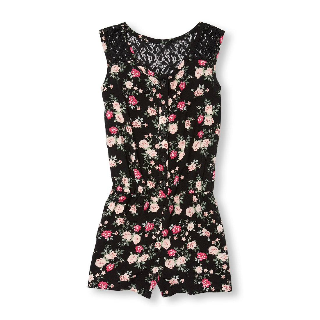 The Children's Place Big Girls' Floral Woven Romper, Black, XL (14)