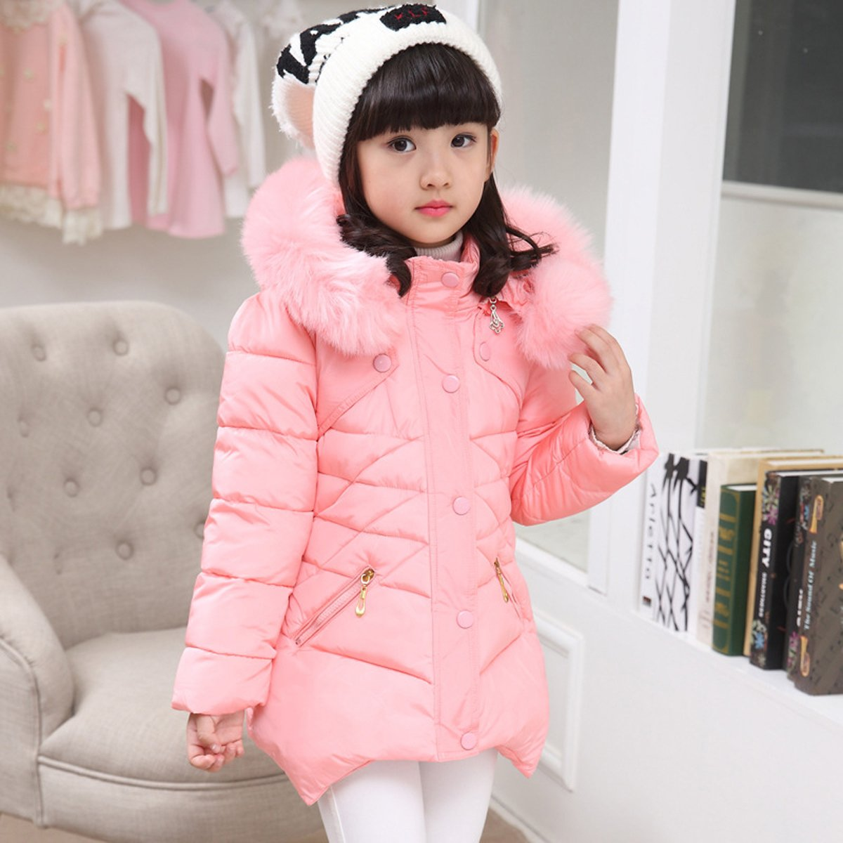 Child Kids Girls Winter Warm Jackets Snowsuit Hooded Windbreaker Outwear With Soft Fur Hoodies For 3-12 Years Old