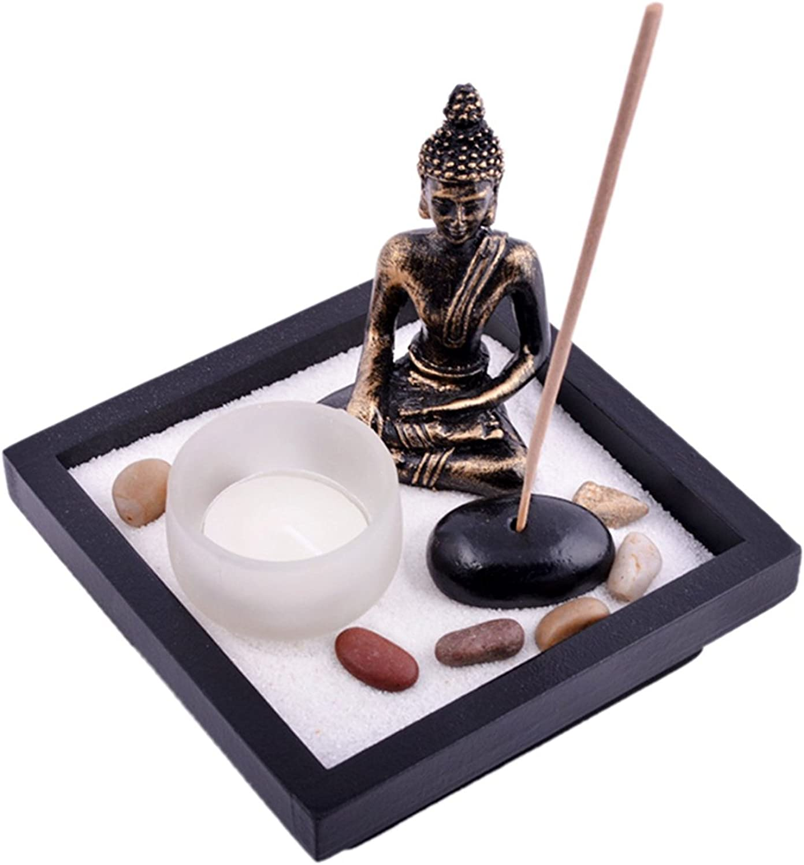 fengshuisale Zen Garden Garten Sand Buddha Rocks Tealight Incense Holder Feng Shui W Free Red String Bracelet SKU:T1020