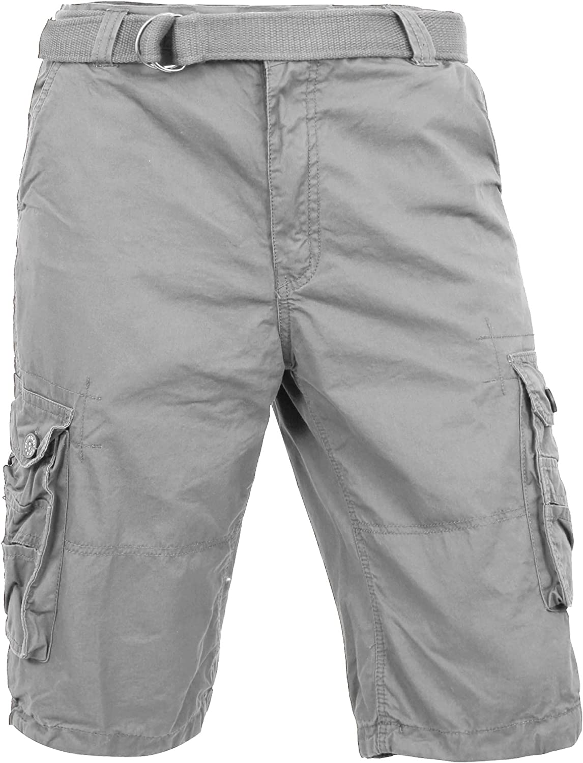 Hat and Beyond Mens Premium Cargo Shorts with Belt Outdoor Twill Cotton Loose Fit Multi Pocket Pants