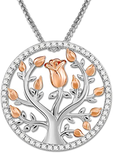 SNZM Tree of Life Pendant Necklace for Women Rose Flower Necklace for Wife Daughter Jewelry Gifts for Christmas Family Day