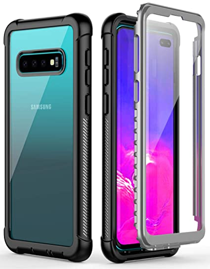 a68a8f6c0 Temdan Samsung Galaxy S10 Plus Case Built-in Screen Protector Full Body  Protect Support Wireless