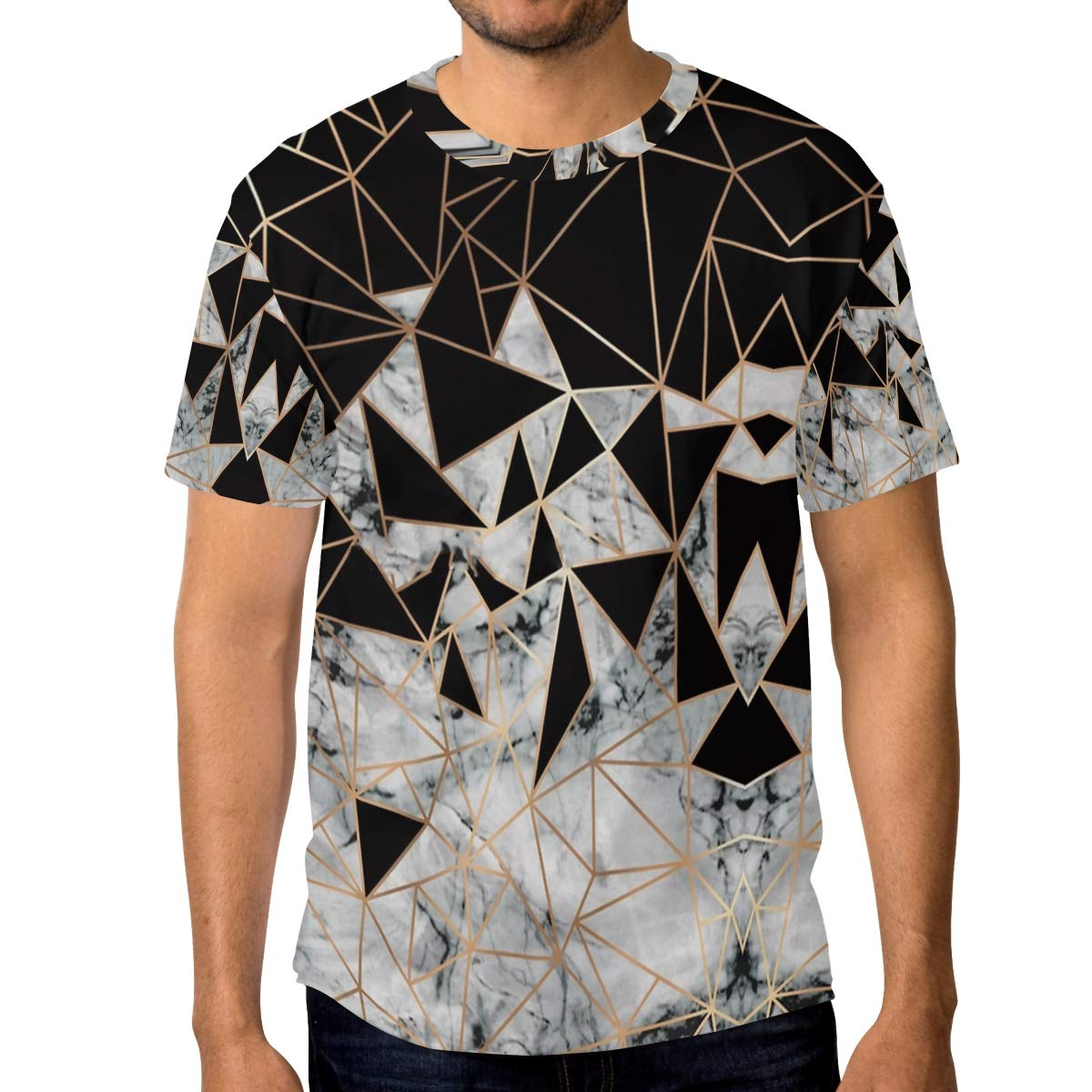 Horatiood Huberyyd Marble Polygon Mens T Shirts Graphic Funny Body Print Short T-Shirt Unisex Pullover Blouse