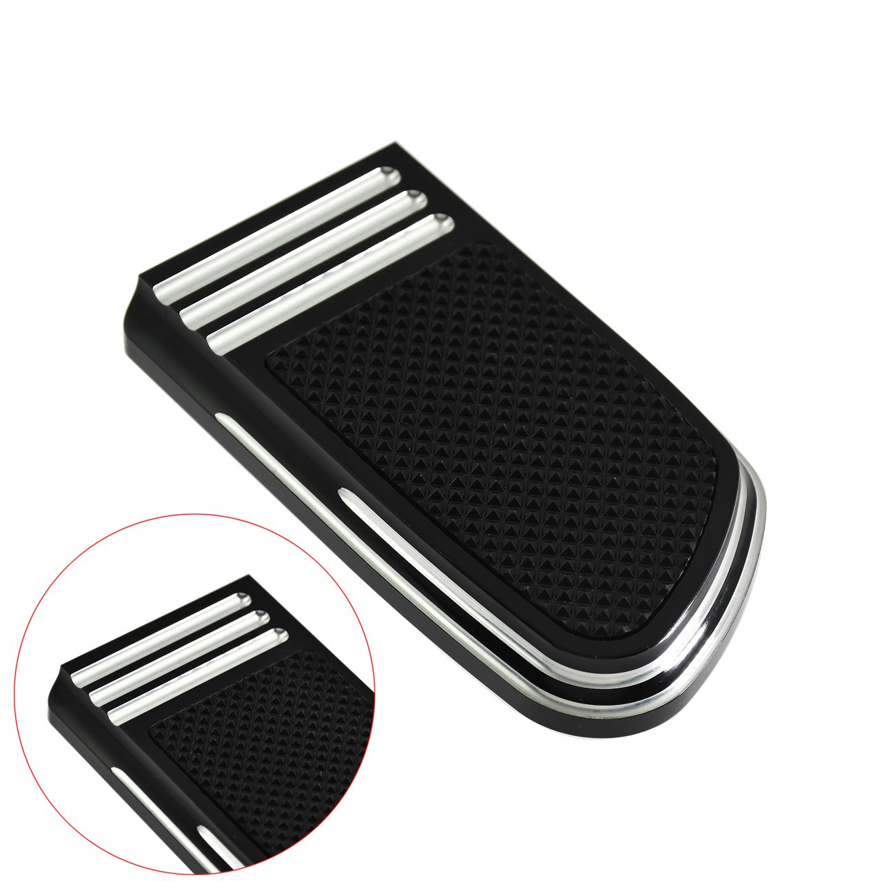 Rebacker Rear Brake Pedal Large Pad Cover for Harley Dyna Street Fat Bob Wide Glide Softail