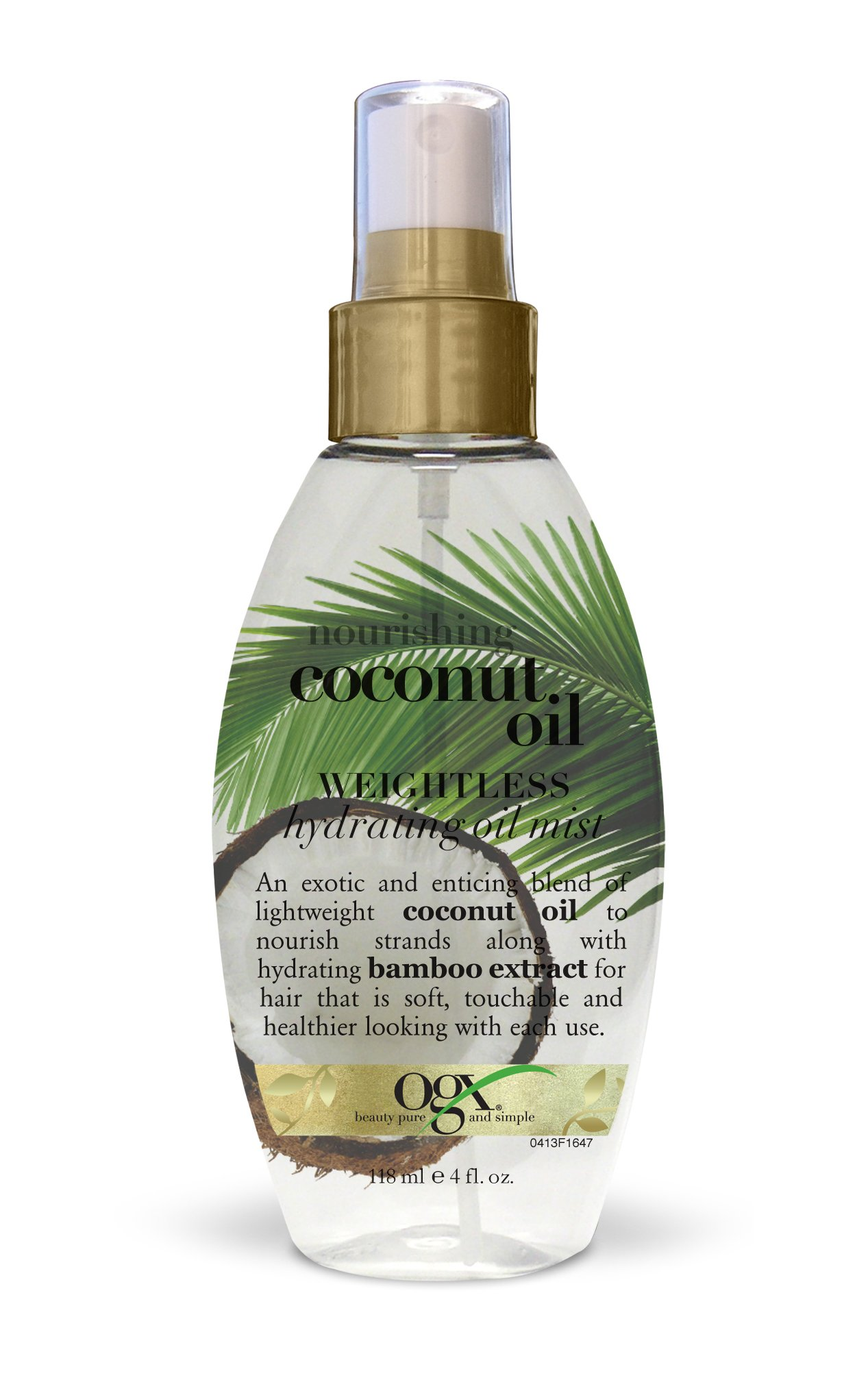 OGX Nourishing + Coconut Oil Weightless Hydrating Oil Hair Mist, Lightweight Leave-In Hair Treatment with Coconut Oil & Bamboo Extract, Paraben- & Sulfate Surfactant-Free, 4 fl oz