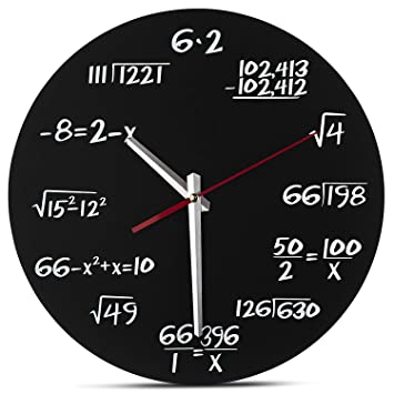 TOOGOO Reloj de Pared Matemático - Reloj de Pared Exclusivo - Cada Hora Marcada por Una Simple Ecuación Matemática: Amazon.es: Hogar