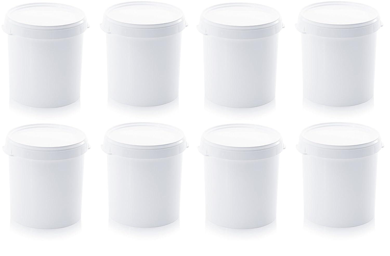 Secchi da 30 l con coperchio, senza staffa, per alimenti, colore: bianco, in plastica, set da 8 Auer
