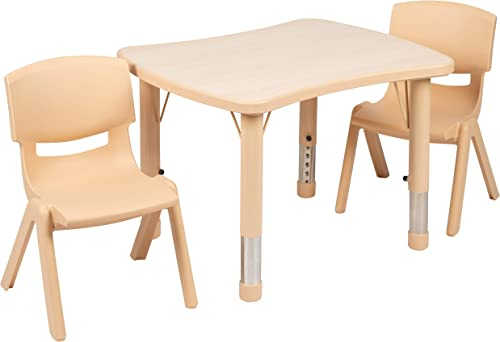 Deal of the week: Flash Furniture 21.875″W x 26.625″L Rectangular Natural Plastic Height Adjustable Activity Table Set